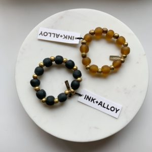 Recycled Glass and Brass Bead Stretch Bracelet